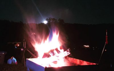 Campfire and a full moon rising. What a beautiful night at the campground.
